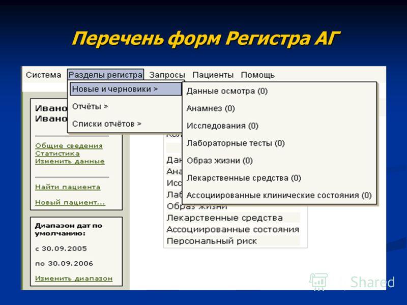 Перечень форм Регистра АГ