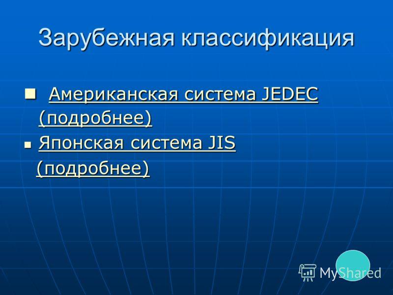 Зарубежная классификация Американская система JEDEC (подробнее) Американская система JEDEC (подробнее) Американская система JEDEC (подробнее) Американская система JEDEC (подробнее) Японская система JIS Японская система JIS Японская система JIS Японск