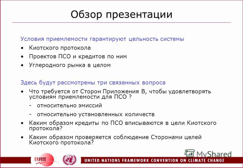 Обзор презентации Условия приемлемости гарантируют цельность системы Киотского протокола Проектов ПСО и кредитов по ним Углеродного рынка в целом Здесь будут рассмотрены три связанных вопроса Что требуется от Сторон Приложения В, чтобы удовлетворять