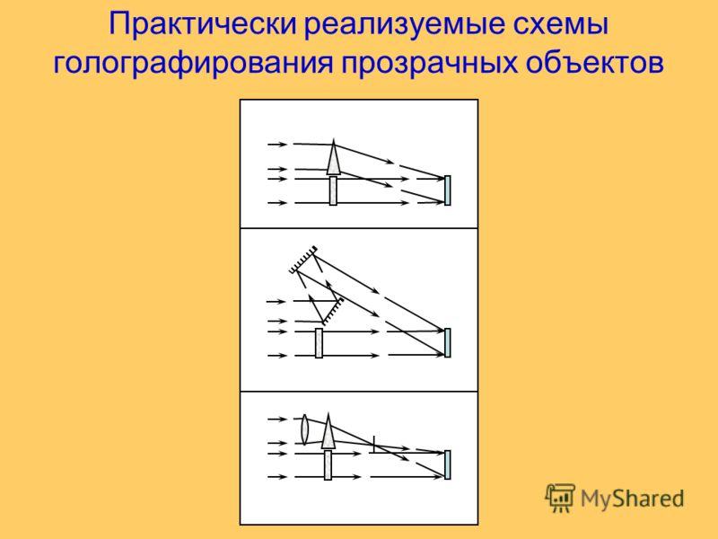 Практически реализуемые схемы голографирования прозрачных объектов