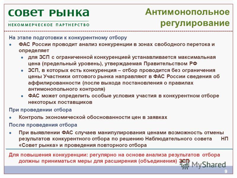 99 Антимонопольное регулирование На этапе подготовки к конкурентному отбору ФАС России проводит анализ конкуренции в зонах свободного перетока и определяет для ЗСП с ограниченной конкуренцией устанавливается максимальная цена (предельный уровень), ут