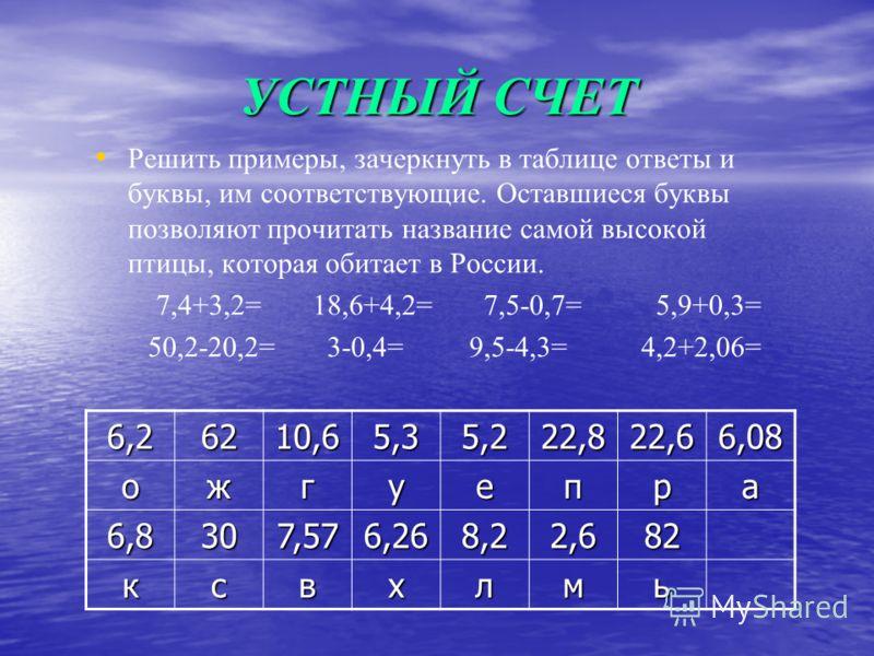 УСТНЫЙ СЧЕТ Решить примеры, зачеркнуть в таблице ответы и буквы, им соответствующие. Оставшиеся буквы позволяют прочитать название самой высокой птицы, которая обитает в России. 7,4+3,2= 18,6+4,2= 7,5-0,7= 5,9+0,3= 50,2-20,2= 3-0,4= 9,5-4,3= 4,2+2,06