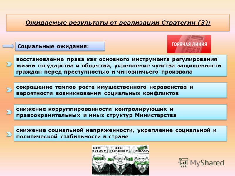Ожидаемые результаты от реализации Стратегии (3): Социальные ожидания: восстановление права как основного инструмента регулирования жизни государства и общества, укрепление чувства защищенности граждан перед преступностью и чиновничьего произвола сок