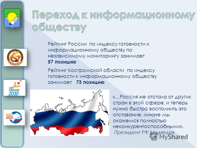 Рейтинг России по индексу готовности к информационному обществу по независимому мониторингу занимает 57 позицию Рейтинг Костромской области по индексу готовности к информационному обществу занимает 73 позицию «…Россия же отстала от других стран в это