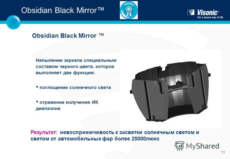 11 Напыление зеркала специальным составом черного цвета, которое выполняет две функции: поглощение солнечного света отражение излучения ИК диапазона Obsidian Black Mirror Результат: невосприимчивость к засветки солнечным светом и светом от автомобиль