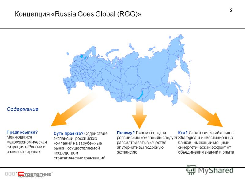 2 Концепция «Russia Goes Global (RGG)» Суть проекта? Содействие экспансии российских компаний на зарубежные рынки, осуществляемой посредством стратегических транзакций Почему? Почему сегодня российским компаниям следует рассматривать в качестве альте