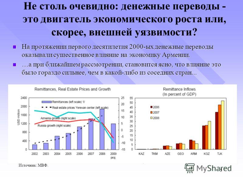 Не столь очевидно: денежные переводы - это двигатель экономического роста или, скорее, внешней уязвимости? На протяжении первого десятилетия 2000-ых денежные переводы оказывали существенное влияние на экономику Армении. На протяжении первого десятиле