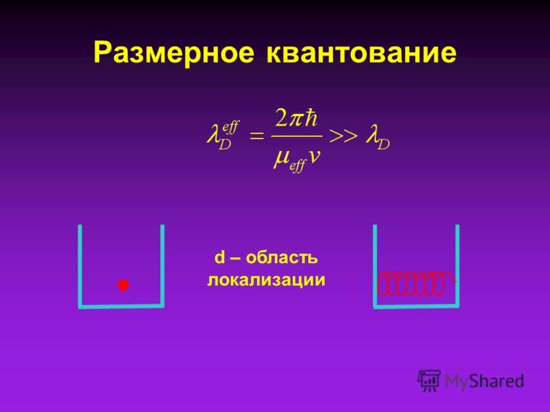 Размерное квантование d – область локализации
