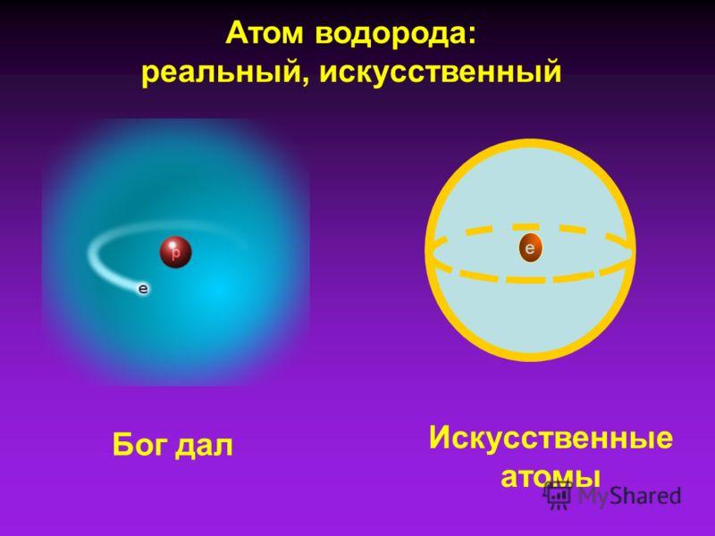 Атом водорода: реальный, искусственный Бог дал Искусственные атомы е