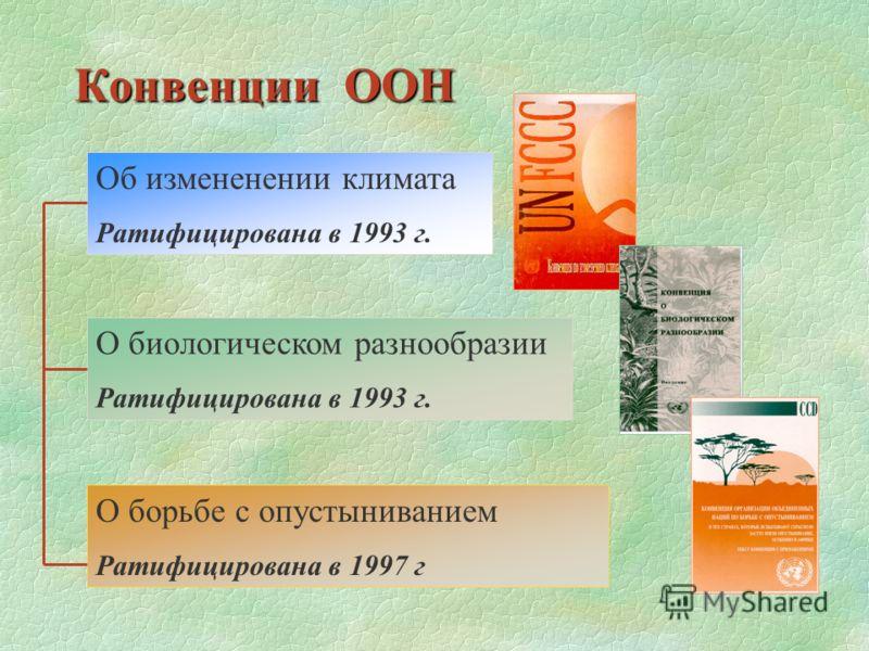 Конвенции ООН Об измененении климата Ратифицирована в 1993 г. О биологическом разнообразии Ратифицирована в 1993 г. О борьбе с опустыниванием Ратифицирована в 1997 г