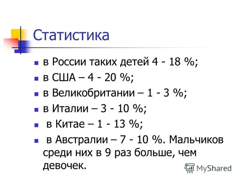 Статистика в России таких детей 4 - 18 %; в США – 4 - 20 %; в Великобритании – 1 - 3 %; в Италии – 3 - 10 %; в Китае – 1 - 13 %; в Австралии – 7 - 10 %. Мальчиков среди них в 9 раз больше, чем девочек.