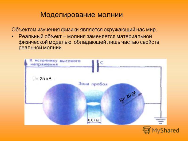 Моделирование молнии Объектом изучения физики является окружающий нас мир. Реальный объект – молния заменяется материальной физической моделью, обладающей лишь частью свойств реальной молнии. U= 25 кВ 0,07 м R= 20cм