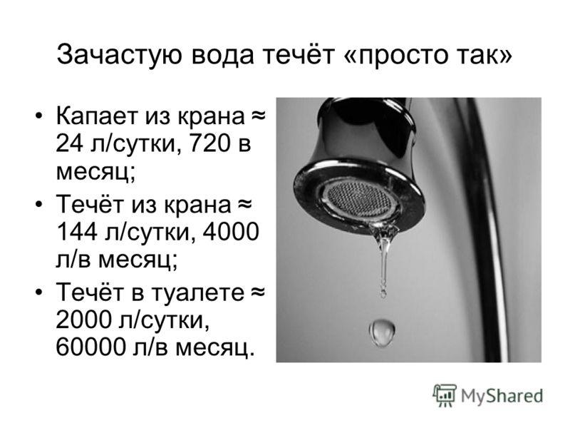 Зачастую вода течёт «просто так» Капает из крана 24 л/сутки, 720 в месяц; Течёт из крана 144 л/сутки, 4000 л/в месяц; Течёт в туалете 2000 л/сутки, 60000 л/в месяц.