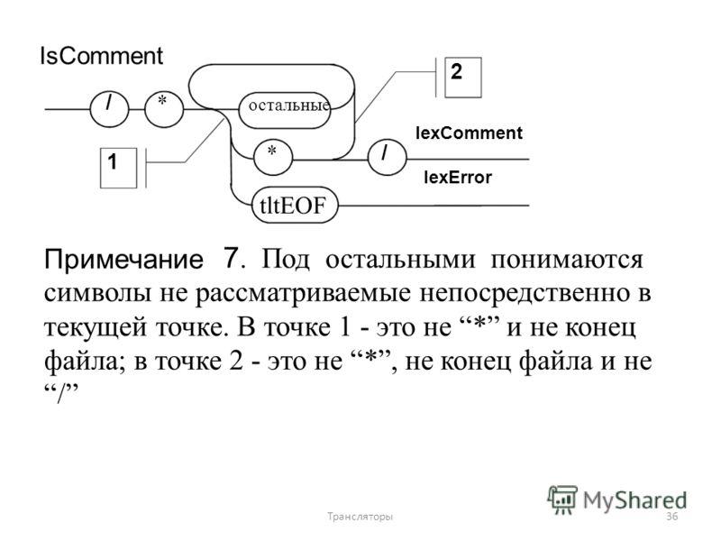 IsComment /*/* 1 Примечание 2 остальные lexComment */*/ lexError tltEOF 7. Под остальными понимаются символы не рассматриваемые непосредственно в текущей точке. В точке 1 - это не * и не конец файла; в точке 2 - это не *, не конец файла и не / 36Тран