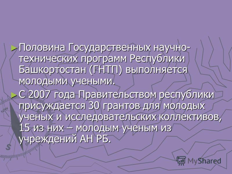 Половина Государственных научно- технических программ Республики Башкортостан (ГНТП) выполняется молодыми учеными. Половина Государственных научно- технических программ Республики Башкортостан (ГНТП) выполняется молодыми учеными. С 2007 года Правител