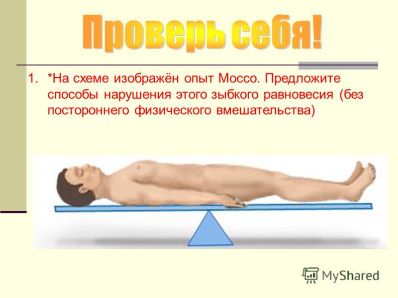 1.*На схеме изображён опыт Моссо. Предложите способы нарушения этого зыбкого равновесия (без постороннего физического вмешательства)