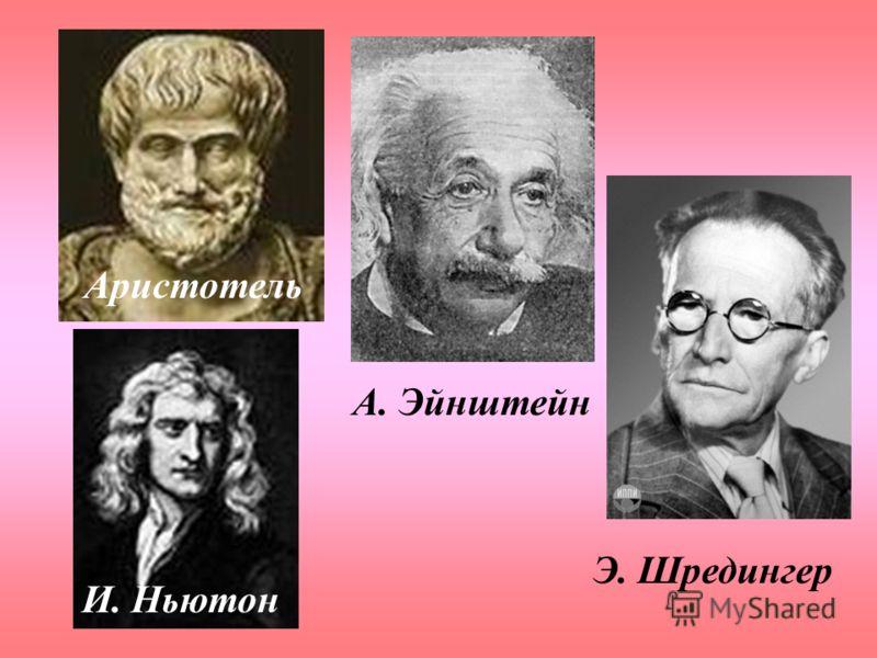 Аристотель И. Ньютон А. Эйнштейн Э. Шредингер