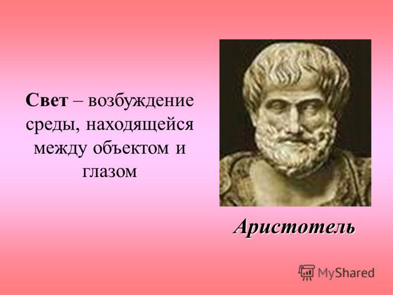 Аристотель Свет – возбуждение среды, находящейся между объектом и глазом