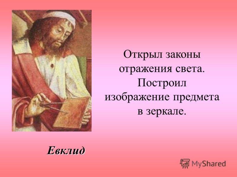 Евклид Открыл законы отражения света. Построил изображение предмета в зеркале.