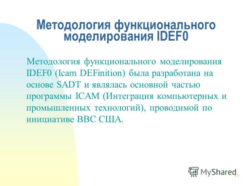 11 Методология функционального моделирования IDEF0 Методология функционального моделирования IDEF0 (Icam DEFinition) была разработана на основе SADT и являлась основной частью программы ICAM (Интеграция компьютерных и промышленных технологий), провод