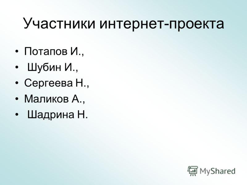 Участники интернет-проекта Потапов И., Шубин И., Сергеева Н., Маликов А., Шадрина Н.