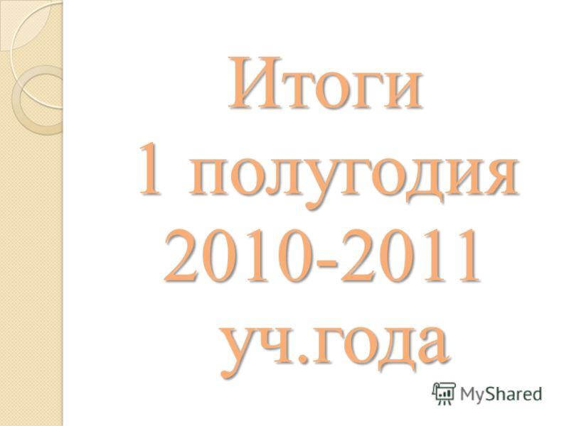 Итоги 1 полугодия 2010-2011 уч.года