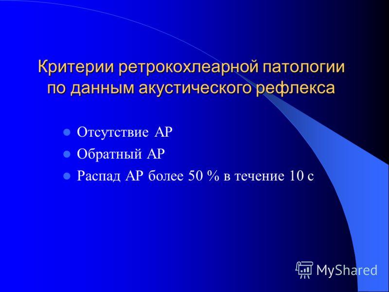Критерии ретрокохлеарной патологии по данным акустического рефлекса Отсутствие АР Обратный АР Распад АР более 50 % в течение 10 с