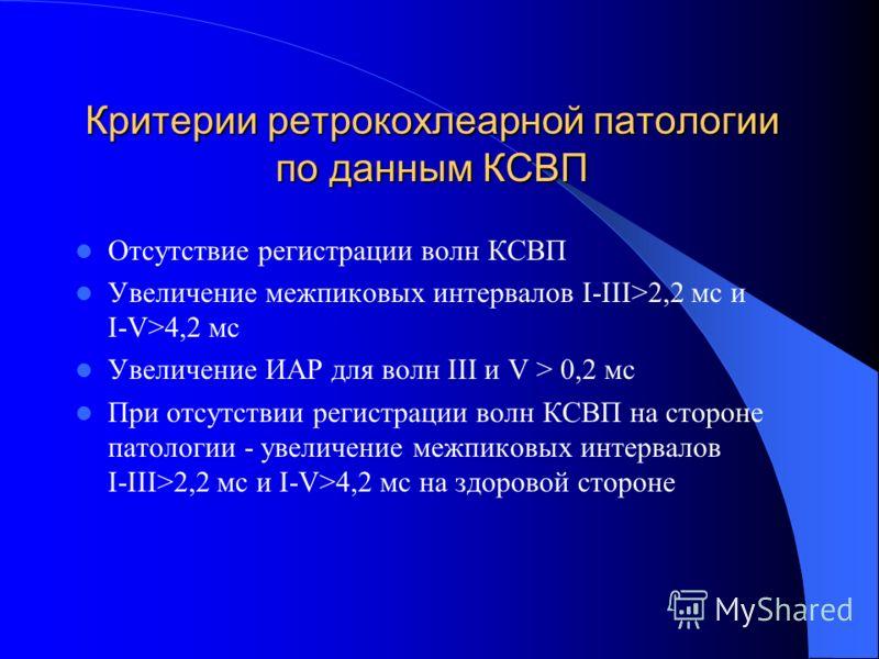 Критерии ретрокохлеарной патологии по данным КСВП Отсутствие регистрации волн КСВП Увеличение межпиковых интервалов I-III>2,2 мс и I-V>4,2 мс Увеличение ИАР для волн III и V > 0,2 мс При отсутствии регистрации волн КСВП на стороне патологии - увеличе