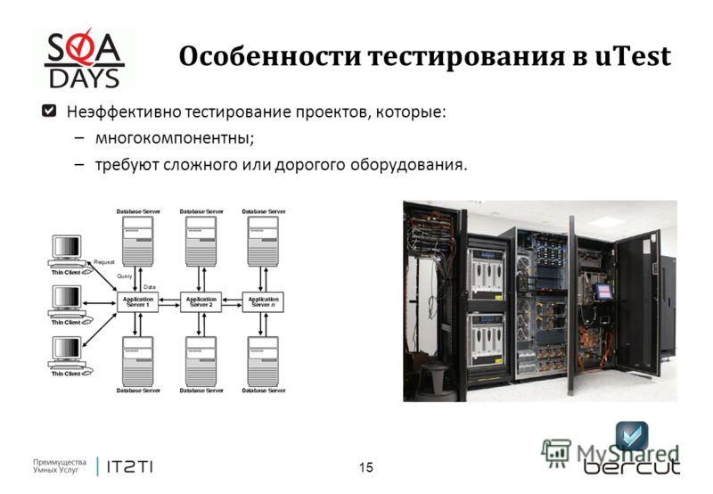 15 Особенности тестирования в uTest Неэффективно тестирование проектов, которые: –многокомпонентны; –требуют сложного или дорогого оборудования.