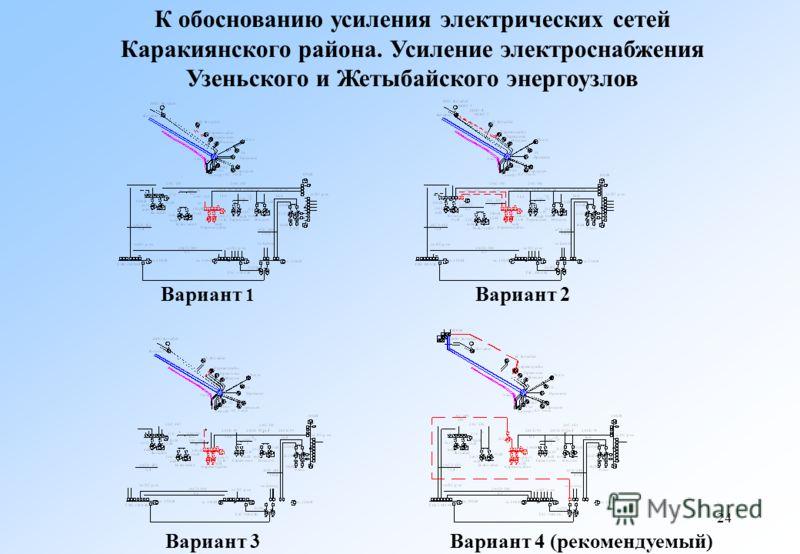 24 К обоснованию усиления электрических сетей Каракиянского района. Усиление электроснабжения Узеньского и Жетыбайского энергоузлов Вариант 3 Вариант 4 (рекомендуемый) Вариант 1 Вариант 2
