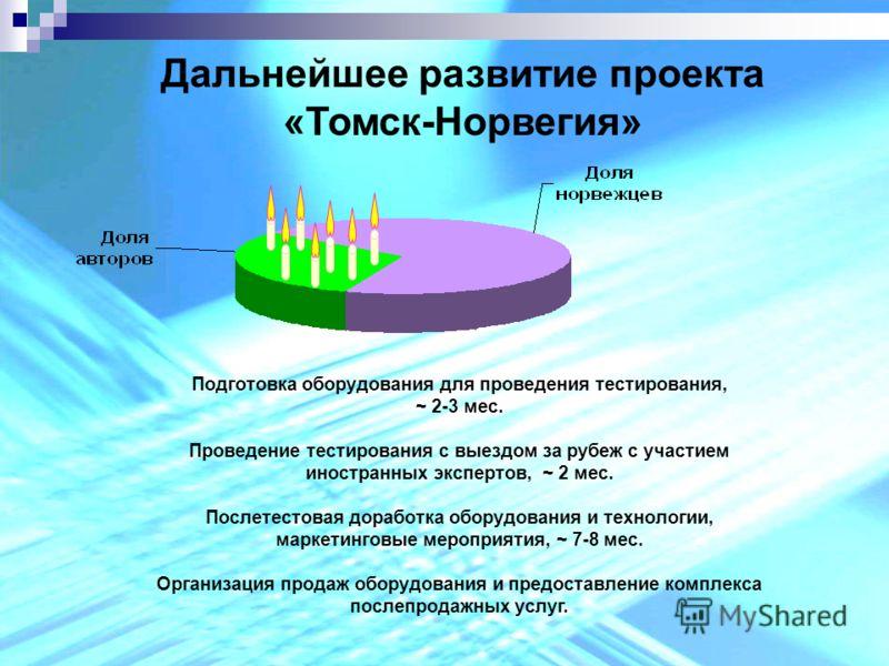 Дальнейшее развитие проекта «Томск-Норвегия» Подготовка оборудования для проведения тестирования, ~ 2-3 мес. Проведение тестирования с выездом за рубеж с участием иностранных экспертов, ~ 2 мес. Послетестовая доработка оборудования и технологии, марк