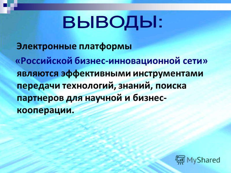 Электронные платформы «Российской бизнес-инновационной сети» являются эффективными инструментами передачи технологий, знаний, поиска партнеров для научной и бизнес- кооперации.