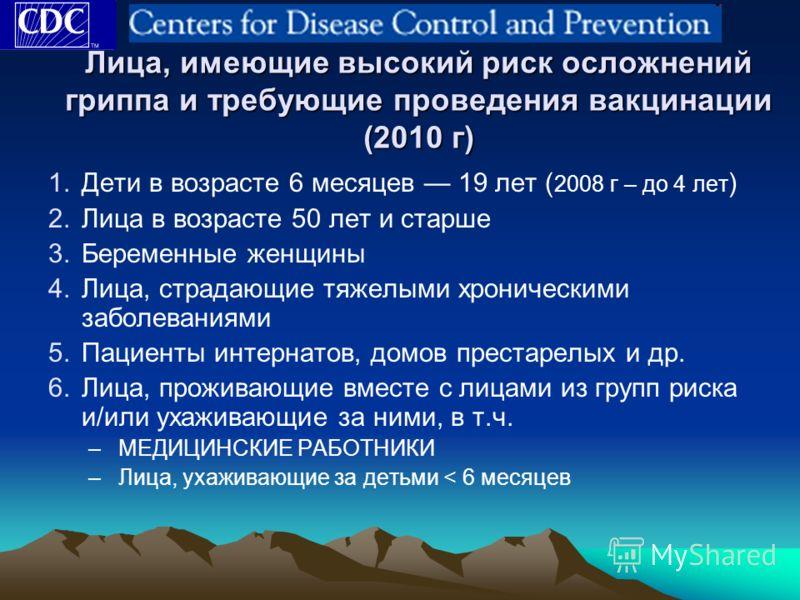 Лица, имеющие высокий риск осложнений гриппа и требующие проведения вакцинации (2010 г) 1.Дети в возрасте 6 месяцев 19 лет ( 2008 г – до 4 лет ) 2.Лица в возрасте 50 лет и старше 3.Беременные женщины 4.Лица, страдающие тяжелыми хроническими заболеван