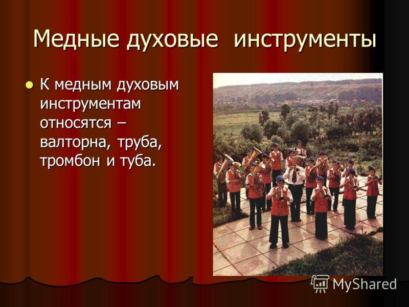 Медные духовые инструменты К медным духовым инструментам относятся – валторна, труба, тромбон и туба. К медным духовым инструментам относятся – валторна, труба, тромбон и туба.