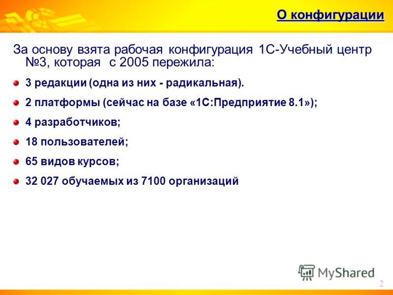 О конфигурации За основу взята рабочая конфигурация 1С-Учебный центр 3, которая c 2005 пережила: 3 редакции (одна из них - радикальная). 2 платформы (сейчас на базе «1С:Предприятие 8.1»); 4 разработчиков; 18 пользователей; 65 видов курсов; 32 027 обу