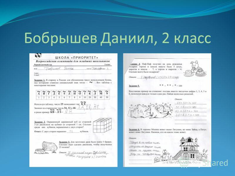 Бобрышев Даниил, 2 класс
