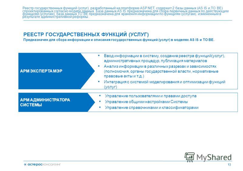 РЕЕСТР ГОСУДАРСТВЕННЫХ ФУНКЦИЙ (УСЛУГ) 13 Реестр государственных функций (услуг), разработанный на платформе ASP.NET, содержит 2 базы данных (AS IS и TO BE) спроектированных согласно модели данных. База данных AS IS предназначена для сбора первичных