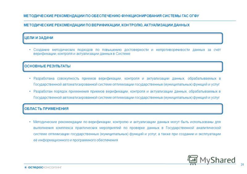 МЕТОДИЧЕСКИЕ РЕКОМЕНДАЦИИ ПО ВЕРИФИКАЦИИ, КОНТРОЛЮ, АКТУАЛИЗАЦИИ ДАННЫХ 31 ЦЕЛИ И ЗАДАЧИ Создание методических подходов по повышению достоверности и непротиворечивости данных за счёт верификации, контроля и актуализации данных в Системе ОСНОВНЫЕ РЕЗУ