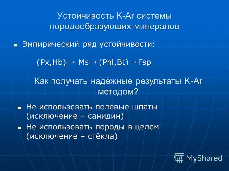 Устойчивость K-Ar системы породообразующих минералов Эмпирический ряд устойчивости: (Px,Hb) Ms (Phl,Bt) Fsp Эмпирический ряд устойчивости: (Px,Hb) Ms (Phl,Bt) Fsp Как получать надёжные результаты K-Ar методом? Не использовать полевые шпаты (исключени