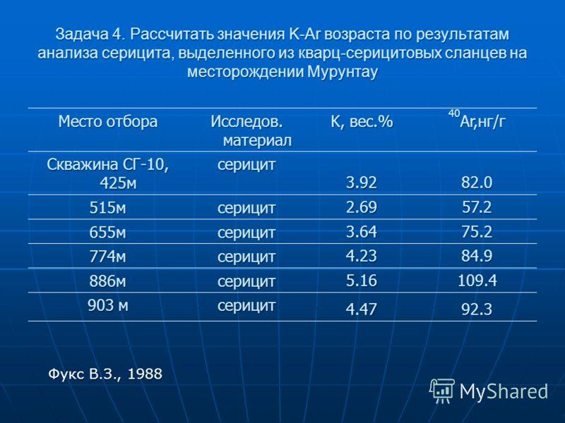 Задача 4. Рассчитать значения K-Ar возраста по результатам анализа серицита, выделенного из кварц-серицитовых сланцев на месторождении Мурунтау Место отбора Исследов. материал K, вес.% 40 Ar,нг/г Скважина СГ-10, 425м серицит 3.9282.0 515мсерицит 2.69