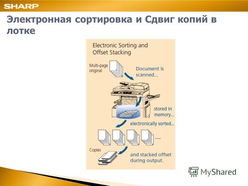 Электронная сортировка и Сдвиг копий в лотке