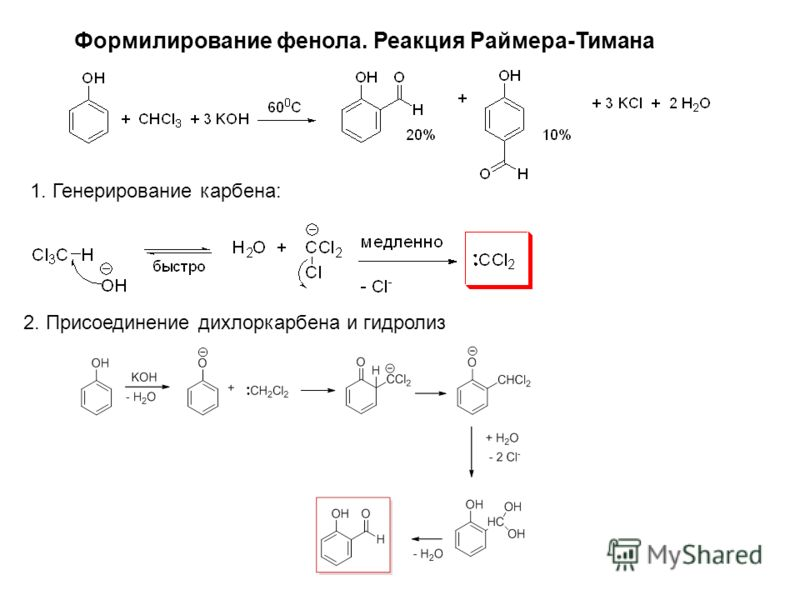Формилирование фенола. Реакция Раймера-Тимана 1. Генерирование карбена: 2. Присоединение дихлоркарбена и гидролиз