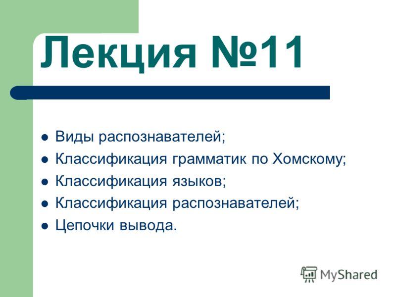 Лекция 11 Виды распознавателей; Классификация грамматик по Хомскому; Классификация языков; Классификация распознавателей; Цепочки вывода.