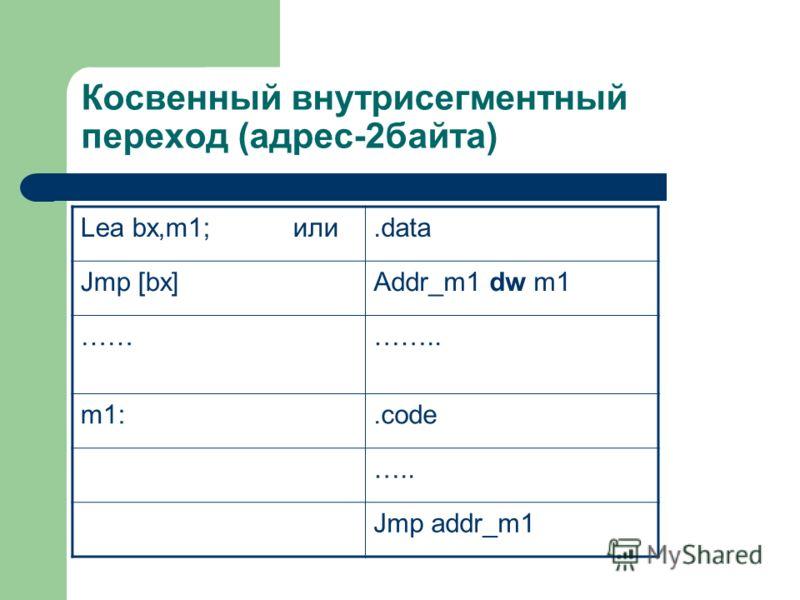 Косвенный внутрисегментный переход (адрес-2байта) Lea bx,m1; или.data Jmp [bx]Addr_m1 dw m1 ………….. m1:.code ….. Jmp addr_m1