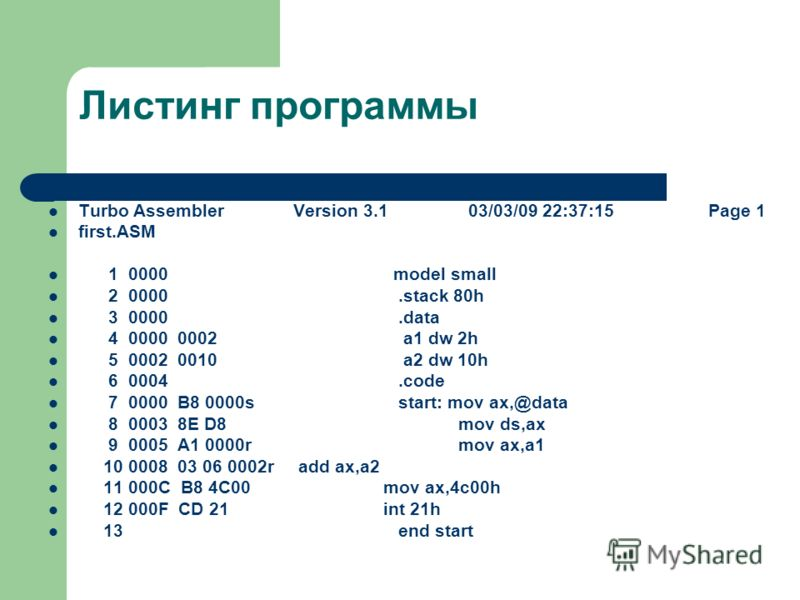 Листинг программы Turbo Assembler Version 3.1 03/03/09 22:37:15 Page 1 first.ASM 10000 model small 20000.stack 80h 30000.data 40000 0002 a1 dw 2h 50002 0010 a2 dw 10h 60004.code 70000 B8 0000s start: mov ax,@data 80003 8E D8 mov ds,ax 90005 A1 0000r