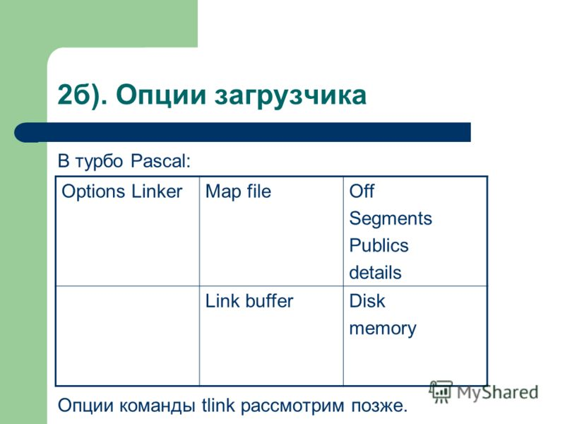 2б). Опции загрузчика В турбо Pascal: Опции команды tlink рассмотрим позже. Options LinkerMap fileOff Segments Publics details Link bufferDisk memory
