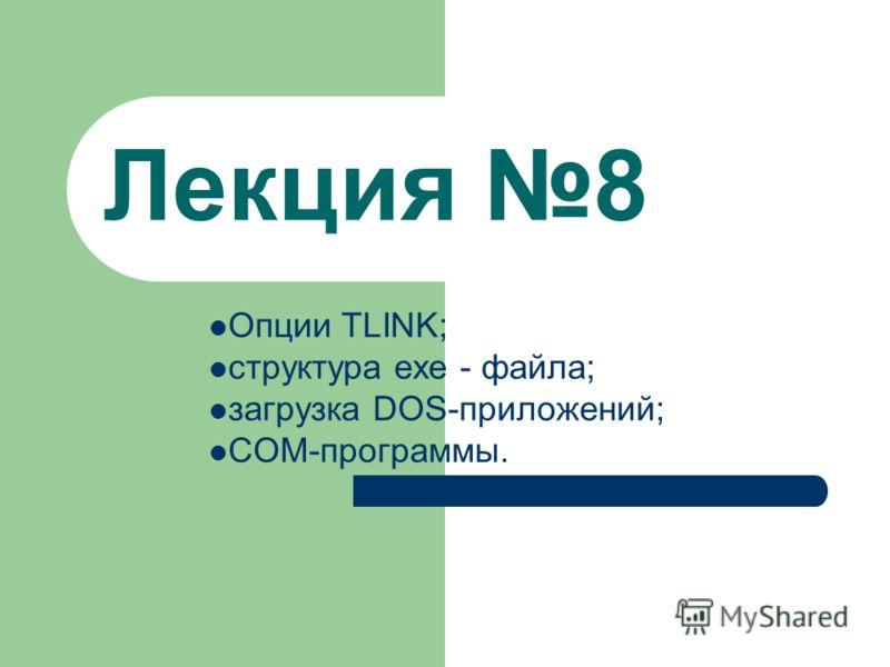 Лекция 8 Опции TLINK; структура exe - файла; загрузка DOS-приложений; COM-программы.