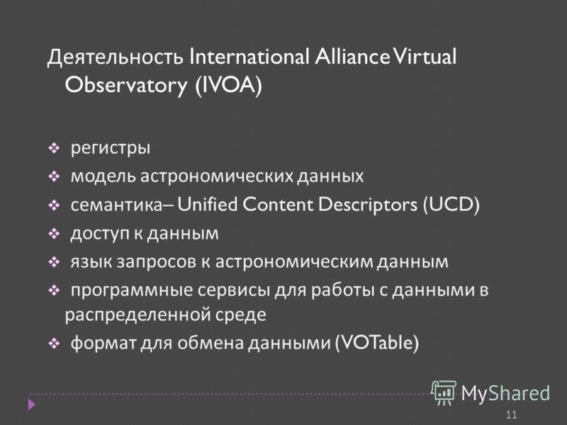 Деятельность International Alliance Virtual Observatory (IVOA) регистры модель астрономических данных семантика – Unified Content Descriptors (UCD) доступ к данным язык запросов к астрономическим данным программные сервисы для работы с данными в расп