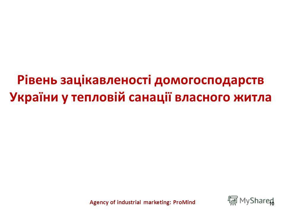Рівень зацікавленості домогосподарств України у тепловій санації власного житла Agency of industrial marketing: ProMind 10