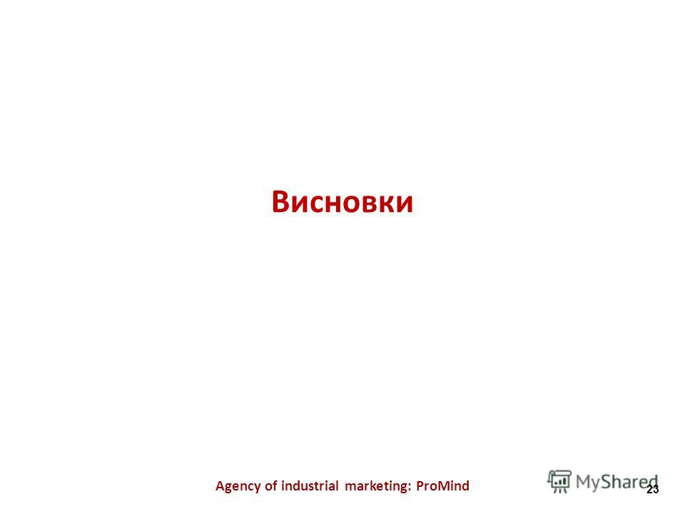 Висновки Agency of industrial marketing: ProMind 23